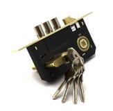 Oro moderno e serratura nera con il mazzo di chiavi Immagini Stock Libere da Diritti