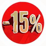 Oro muestra del 15 por ciento en rojo Foto de archivo libre de regalías