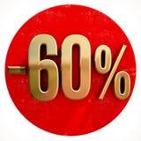 Oro muestra del 60 por ciento en rojo Foto de archivo libre de regalías