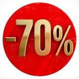 Oro muestra del 70 por ciento en rojo ilustración del vector