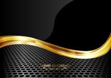 Oro negro de lujo abstracto en malla metálica Imagen de archivo