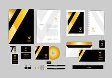 Oro, negro y plantilla de plata de la identidad corporativa para su negocio 4 Foto de archivo