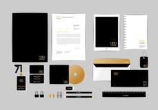 Oro, negro y plantilla de plata de la identidad corporativa para su negocio 9 Imagenes de archivo