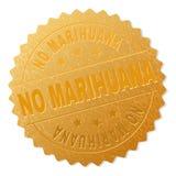 Oro NINGÚN sello de la insignia de la MARIJUANA ilustración del vector