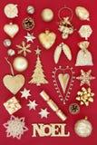 Oro Noel Christmas Decorations Immagini Stock Libere da Diritti