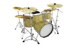 Oro o tamburi gialli di jazz isolati Fotografia Stock Libera da Diritti