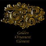 Oro ornamentale ed elemento swirly decorativo, su fondo nero, illustrazione Fotografia Stock