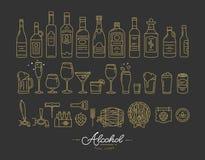 Oro piano delle icone dell'alcool illustrazione di stock