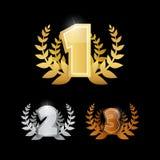 Oro, plata, bronce - primero, segundos y terceros iconos del vector del lugar fijados Fotos de archivo libres de regalías
