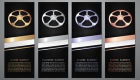 Oro, platino, plata, fútbol de bronce en banderas negras stock de ilustración