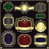 Oro que enmarca para las escrituras de la etiqueta - vintage del estilo. Imagenes de archivo