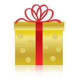 Oro/rectángulo de regalo de oro Imágenes de archivo libres de regalías