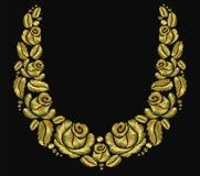 Oro retro del vintage color de rosa del luxery del ornamento del collar de la flor del bordado Imagenes de archivo