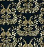 Oro scuro del modello senza cuciture del modello del pavone dell'uccello di vettore illustrazione vettoriale