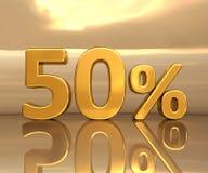 Oro 50%, segno di sconto di cinquanta per cento Fotografia Stock Libera da Diritti