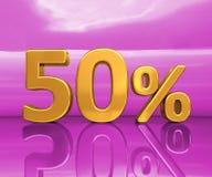 Oro 50%, segno di sconto di cinquanta per cento Fotografia Stock