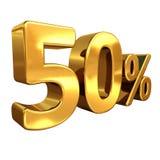 Oro 50%, segno di sconto di cinquanta per cento Fotografie Stock Libere da Diritti