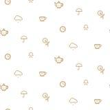 Oro simple de la fiesta del té inglesa en la línea blanca modelo del vector stock de ilustración
