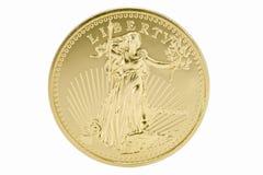 oro solido 1oz una moneta dei 50 dollari - S.U.A. Fotografia Stock Libera da Diritti