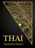 Oro tradicional del diseño del elemento tailandés del arte del mono de Hanuman para las tarjetas de felicitación stock de ilustración