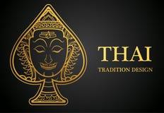 Oro tradizionale per le cartoline d'auguri, copertura di progettazione dell'elemento tailandese di arte Immagine Stock