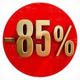 Oro un segno di 85 per cento su rosso Royalty Illustrazione gratis
