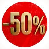 Oro un segno di 50 per cento su rosso Fotografia Stock