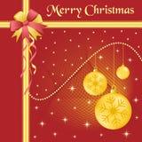 Oro y arqueamiento de las bolas de Navidad Imagen de archivo libre de regalías