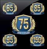 Oro y azul 65.o, 75.o, 85o, 95.o, 150os años de la insignia del aniversario Fotos de archivo