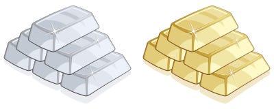 Oro y barras de plata Imágenes de archivo libres de regalías