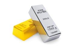 Oro y barras de plata Fotografía de archivo libre de regalías