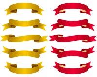 Oro y cintas rojas fijados Imagen de archivo libre de regalías