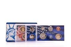 Oro y conjuntos de plata de la prueba de los E.E.U.U. Imagen de archivo
