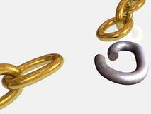 Oro y encadenamiento roto oxidado ilustración del vector