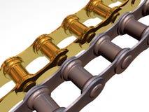 Oro y encadenamientos oxidados stock de ilustración