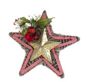 Oro y estrella de madera de la Navidad con la cinta Imágenes de archivo libres de regalías