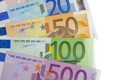 Oro y euro en carta Foto de archivo