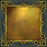 Oro y fondo azul con el marco del diseño Fotos de archivo libres de regalías