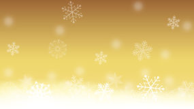 Oro y fondo blanco del copo de nieve Imagen de archivo libre de regalías