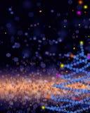 Oro y fondo elegante azul de la Navidad con el lugar para nuevo YE Imágenes de archivo libres de regalías