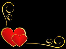 Oro y fondo negro del amor Imagen de archivo libre de regalías