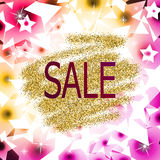 Oro y fondo púrpura del extracto de la venta Fotos de archivo libres de regalías