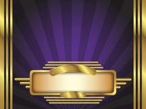 Oro y fondo púrpura del vector del estilo del art déco Fotos de archivo