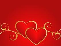 Oro y fondo rojo del amor Imagenes de archivo