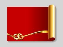 Oro y fondo rojo del extracto de la boda Fotos de archivo