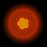 Oro y fractal floral rojo Foto de archivo