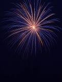Oro y fuegos artificiales azules Imágenes de archivo libres de regalías