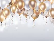 Oro y globos blancos stock de ilustración