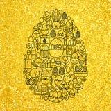 Oro y línea feliz forma fijada iconos de Pascua del negro del huevo stock de ilustración