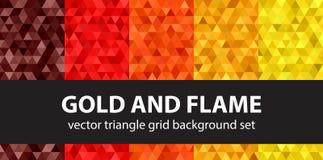Oro y llama determinados del modelo del triángulo Vector b geométrico inconsútil libre illustration